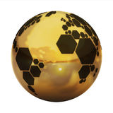 Planet football. Golden planet football 3d illustration Royalty Free Stock Photo