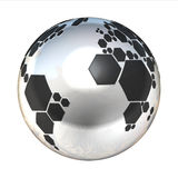 Planet football. Silver planet football 3d illustration Stock Photography