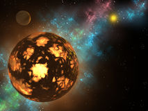 Planet formation. A 3d design of a new planet forming in a solar system stock illustration