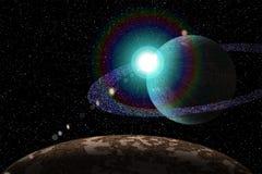 Planet från utrymmet på natten Arkivbild