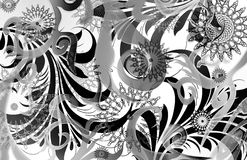 Planet funk. Abstract ethnic geometric scroll layout with mechanical star emblems and diffused scrolls Stock Photos