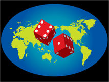 Planet Gamble. Environmental Concerns - Dice and Earth royalty free illustration