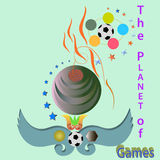 The planet of games. Emblem  playing sports.computer illustration Royalty Free Stock Image