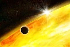Planet gegen die Sonne lizenzfreie abbildung