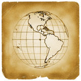 Planet globe earth old vintage paper Stock Image