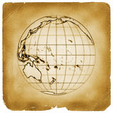 Planet globe earth old vintage paper. Illustration of globe Earth map with present terrain contours and accurate geographic coordinates on weathered papyrus Royalty Free Stock Photos