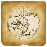 Planet globe earth old vintage paper. Illustration of globe Earth map with present terrain contours and accurate geographic coordinates on weathered papyrus Stock Photography