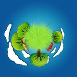 Planet, Grass, Trees, Flowers Royalty Free Stock Photos