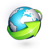 Planet with green arrow Royalty Free Stock Photography