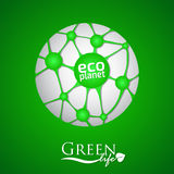 Planet with green eco net and icon Stock Images