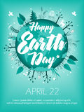 Planet in green leaves wreath. April 22 banner. Happy Earth Day card design. Vector illustration Royalty Free Stock Photo