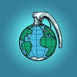 Planet grenade, ecology and politics. Comic book cartoon pop art retro illustration Stock Image