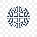 Planet grid circular vector icon isolated on transparent backgro vector illustration