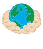 Planet in hand. Illustration - the globe is held in the hands stock illustration