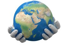 Planet in the hands Stock Photography