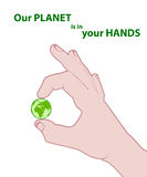 Planet in hands Stock Images