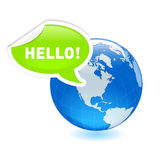 Planet hello. Hello from America. All elements are separate objects and grouped. File is made with linear and radial gradient. No transparency. Map source Url Royalty Free Stock Images