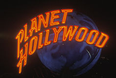 Planet Hollywood neon sign Royalty Free Stock Image