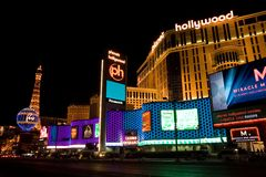 Planet Hollywood and Paris Hotel royalty free stock images