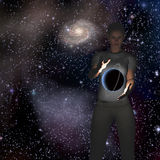 Planet hovers between hands Royalty Free Stock Photos