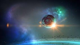 Planet i utrymmeögla vektor illustrationer