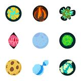 Planet icons set, cartoon style Royalty Free Stock Photo