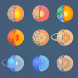 Planet icons. Solar System planets icon set vector illustration
