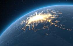 Planet With Illuminated City royalty free illustration
