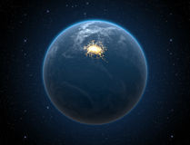 Planet With Illuminated City vector illustration