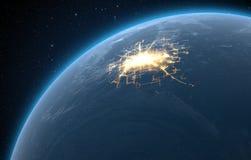 Planet With Illuminated City Royalty Free Stock Photos