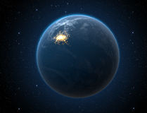 Planet With Illuminated City Stock Photos