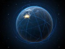 Planet With Illuminated City And Light Trails Royalty Free Stock Photos