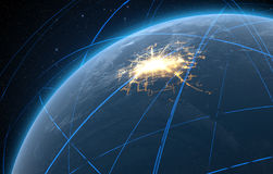 Planet With Illuminated City And Light Trails Royalty Free Stock Photo
