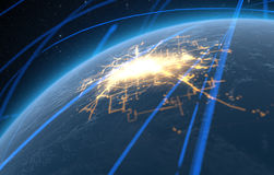 Planet With Illuminated City And Light Trails Royalty Free Stock Photography