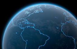 Planet With Illuminated Continents Royalty Free Stock Photos