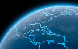 Planet With Illuminated Continents Royalty Free Stock Photography