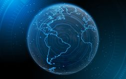 Planet With Illuminated Continents stock illustration