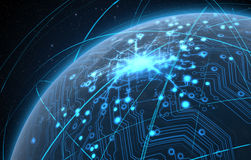 Planet With Illuminated Network And Light Trails Stock Photos
