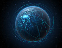 Planet With Illuminated Network And Light Trails Royalty Free Stock Photo