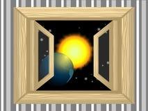 Planet im Fenster Lizenzfreie Stockbilder