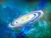 Planet im Raum um helle Illustration der Sterne 3d Stockfoto