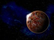 Planet im Raum um helle Illustration der Sterne 3d Stockfotografie