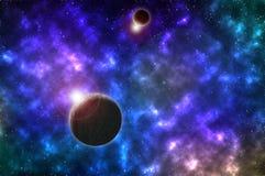 Planet im schönen blauen Raum stockfotografie