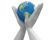 Planet In The Hands Stock Photo