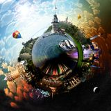 Planet Istanbul. Miniature planet of Istanbul, with all important buildings and attracions of the city royalty free stock photo