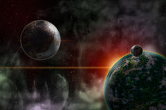 The planet and its moons. Design a Beautiful Cosmic Space Scene Royalty Free Stock Photos