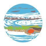 Planet Jupiter doodle Stock Images