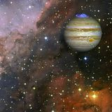 Planet Jupiter. Elements of this image furnished by NASA. Planet Jupiter in the colorful starry universe. Elements of this image furnished by NASA royalty free stock photo