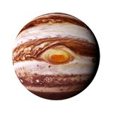 Planet Jupiter isolated on white background. The stormy gas giant with the red dot Stock Photography
