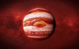 Planet Jupiter and the stars of the galaxy. The fifth planet from the Sun, the largest in the Solar System Royalty Free Stock Images